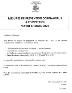 mesures coronavirus
